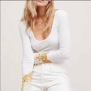 Free People White Thermal Bandana Cuff Top